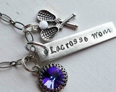 Lacrosse Mom Hand Stamped Necklace Gift Set (available to be customized)