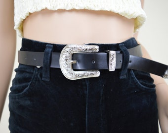 90s Black Faux Leather Silver Buckle Western Belt S / M
