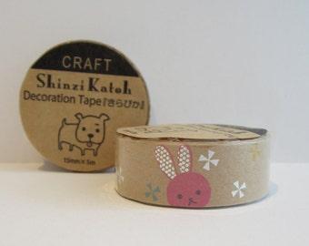 Japanese kraft paper decoration tape - rabbit by Shinzi Katoh