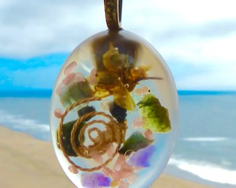Positive Energy Orgone Pendant with Flower and Gold. Frequency-Charged EMF Protection. Super Charged Gemstones! VORTEX.