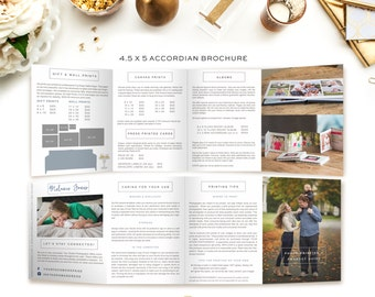 4.5 x 5 Accordian Brochure - Price Template - Product Guide - USB Care - Photographer Marketing - SKU AB001