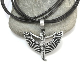 Egyptian Jewelry, Isis Pendant - Ma'at Jewelry, Winged Egyptian Goddess Isis Necklace