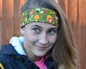 Mushrooms headband, tween teen adult size headband olive green red yellow brown white purple gift Fall Autumn Halloween Thanksgiving