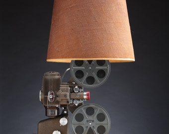 16mm Projector Lamp, Upcycled Lighting, Handmade Art Deco Light, Vintage, Repurposed Film Equipment, Movie Home Decor, Cinephile, Film Reel
