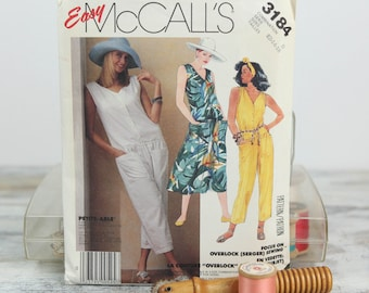 Misses Size 12, 14, 16, Loose fitting, Drop waist Dress & jumpsuit, McCall's (3184) Vintage 1980s Sewing Pattern