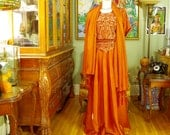 Exotic 80's Boho Copper Satin Embroidered Hostess Gown . Dancing Girl Goddess Costume . 3 Piece Blouse / Skirt / Shawl . Exquisite Details
