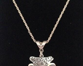 Sterling Silver Lovebirds Necklace, Northwest Native Design Necklace