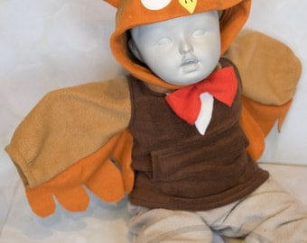 BABY & TODDLER Owl Hoodie, Costume, Vest, Jacket, Hand-made, Cosplay,