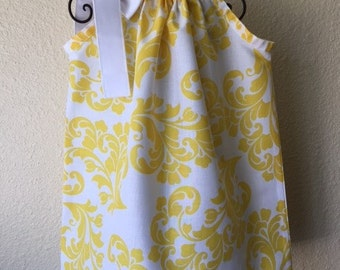 Pillowcase Dress - SUMMER DRESS -  2T - Yellow Damask - Spring - Toddler Girls - Sundress - Ready to ship - EmmaJaneCompany