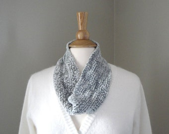 Silver Gray Cowl Scarf, Shimmery Elegant Neck Wrap, Neck Warmer, Luxury Scarflette, Velvet Scarf