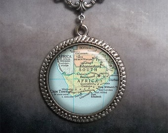 South Africa map necklace, South Africa map pendant necklace, Cape Town map jewelry, map jewellery, South Africa necklace