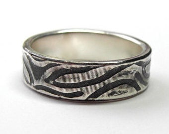 Zebra Ring, 7-8mm Recycled Sterling Silver, Oxidized or Non-Oxidized Stacking Ring, Zebra Stripes,