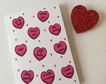 Sassy Hearts, Run Free A6 Plain Notebook