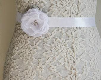 White Bridal Sash Belt, White Wedding, Flower Belt, Dress gown sash, Bridesmaid Accessory, Flower Girl Headband, Tie Back,  Crystal belt