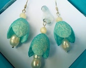 Jewelry set - natural silk and pearls - Blue Bellflowers - white and blue - silver hooks earrings and pendant - Mermaids