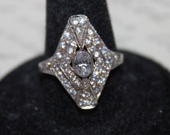 Victorian style Sterling & Rhinestone Ring-size 8