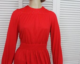 Vintage Red Long Dress Rhinestones Size Small Lounge Dress