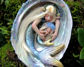 Made to Order || Mother and Baby Mermaid Abalone Faeries || Celia Anne Harris || OOAK