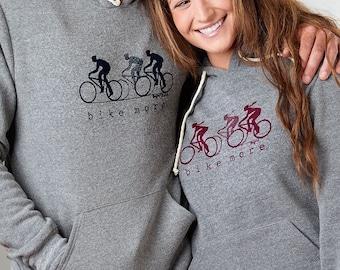 """Women's Grey Bike Hoodie, Bicycle Sweatshirt for Men, """"Bike More"""" by Uni-T"""