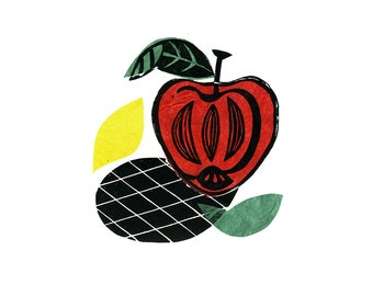 Apple Pop Linocut Print & Chine-collé 1 of 10 (apple design 2)