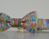 Pastel Gold Metallic Bow Tie Dog Collar Wedding Accessories Made to Order