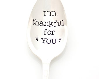 "Thanksgiving Serving Spoon, ""I'm Thankful For You"". Large serving spoon for stuffing, vegetables, table setting."