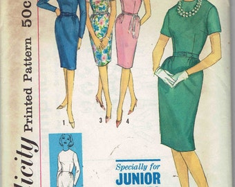 1960s Sheath Dress: Simplicity 4490. Neckline & Sleeve Options, Slim Fitted Skirt. Junior Petite Size 7 Bust 32 inches.