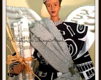 Male Angel Tree Topper, Christmas Angel, Music Themed Black Male, African American OOAK Handmade Treetop
