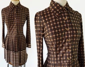 60s 70s Nancy Valentine Dress, Plaid, Stripes, Pleated Skirt, Scooter Mod