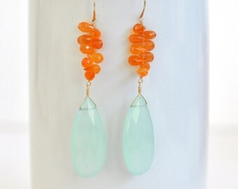 Aqua Chalcedony Earrings- Carnelian Earrings- Gold Filled Earrings- Aqua Blue & Orange Gemstone Earrings- Long Teardrop Earrings