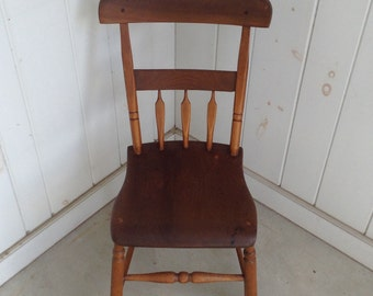 Sweet Antique Wooden Chair Primitive Farmhouse Primitive Country Kitchen Desk Chair