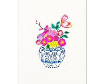 Ginger Jar and Flowers Watercolor Art Print. Blue & White Ginger Jar Bouquet. Flowers Art Print. Vase of Flowers Art. Ginger Jar Painting.