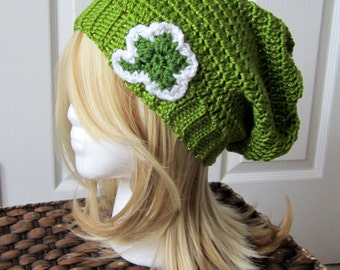 Crocheted St. Patrick's Day Sparkle Shamrock Slouchy Hat / Beanie - Teens, Adults - Men, Women