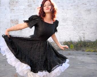 Vintage 1940s black lace dress, 1950s, short puff sleeves, circle skirt, M L