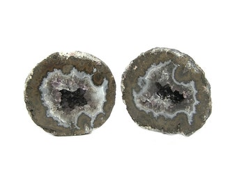 Geode Agate, Amethyst and Smoky Quartz,  Crystal Center Polished Rind Geode Pair, Cut and Polished Gemstone Specimen from Chihuahua Mexico