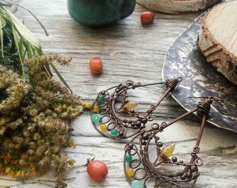 Long Dangle Wire Wrap Earrings - Yellow Teardrop Earrings - Antique Wire Wrapped Copper Earrings - Filigree Bohemian Earrings - Suncatcher