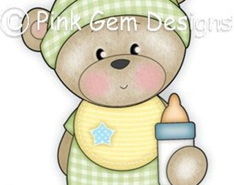 Digi Stamp Baby  Barclay . Makes Cute Birthday Cards. Teddy Bear
