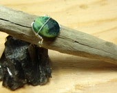 Wire Wrapped Ring - Stone Ring, Green Ring, Chrysocolla Ring, Wire Wrapped, Green Stone Ring, Simple Wire Wrap, Wrapped Stone Ring