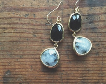 Double Dangle Earrings // Black & Labradorite // Gold Filled // Bridesmaid Earrings // Black and Gray