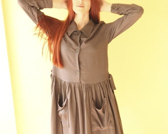 Vintage shirt dress, button down dress/shirt collar/Day dress/striped dress/long sleeves dress