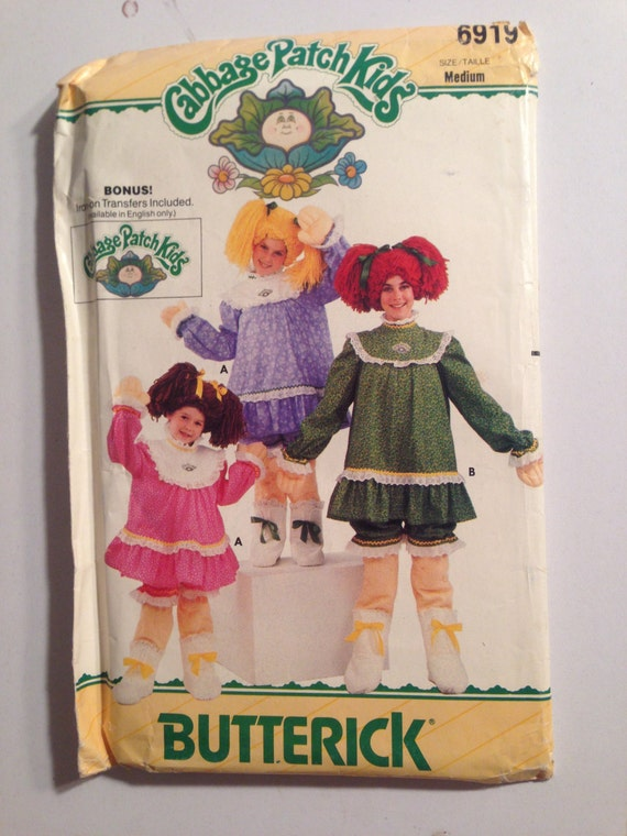Butterick 6919 Sewing Pattern 80s UNCUT Girls Cabbage Patch Kids Costume Size 6-8