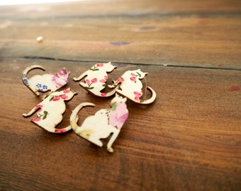 Wooden Cat Broach / Cat Badges / Cat Pins / Cat Gifts