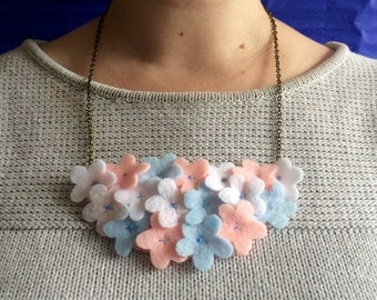 Daisy Patch Statement Felt Necklace - Flower Necklace
