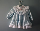 Vintage baby blue party dress / Little Princess ruffle and lace dress / Size 2 / 18 to 24 months
