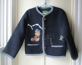 Boy's Vintage Italian Wool Sweater / Coelweik Sweater / Vintage Navy Blue Wool Blend Sweater / Size XS / 3T to 4