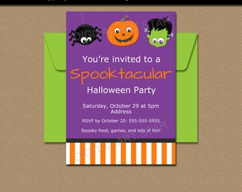 Halloween Party Invitation, Printable Halloween Party Invite, Kids Halloween Party Invitation, Editable Halloween Birthday Invitation HF