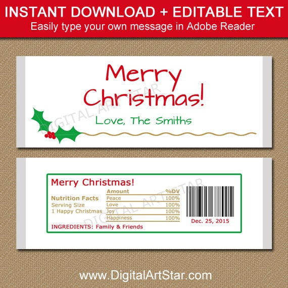 Christmas candy bar wrapper template printable holiday for Templates for candy bar wrappers