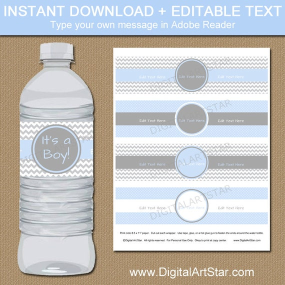 baby shower chevron water bottle labels diy printable boy shower