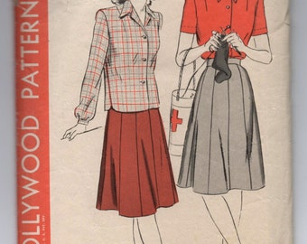 """1940's Hollywood Blouse and Ten Gore Skirt Pattern - Bust 34"""" - No. 1285"""