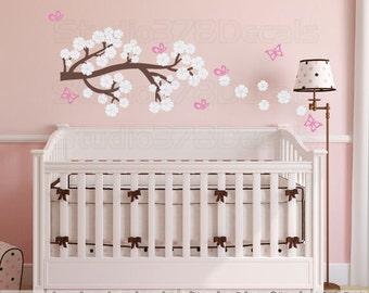 Cherry Blossom Branch Wall Decal | Flower Branch Wall Decal | Baby Girl Nursery | Girls Room Decor | Flower Vinyl Wall Decal | Butterflies